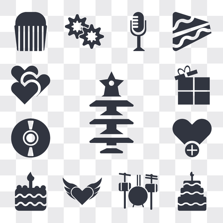 Set Of 13 simple editable icons such as Christmas tree with Star, Five birthday cake, Drummer Set, Devil heart wings, Birthday cake one candle, Add to Favorite, web ui icon pack