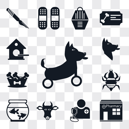 Set Of 13 simple editable icons such as Disabled, Pharmacy, Veterinarian, Cow, Aquarium, Louse, Dog food, Dog, Birdhouse, web ui icon pack