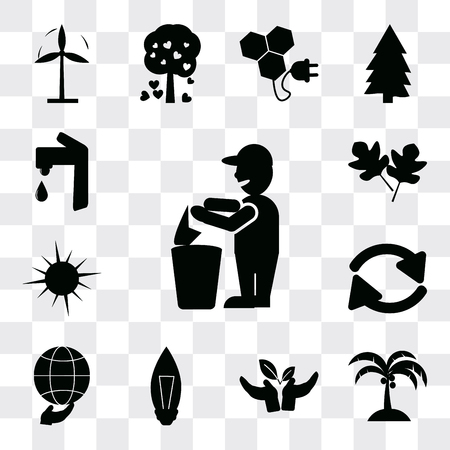 Set Of 13 simple editable icons such as Recycling, Coconut tree, Plant a Light Bulb, Global, Recycle arrows, Sunlight, Two leaves, Water tap, web ui icon pack