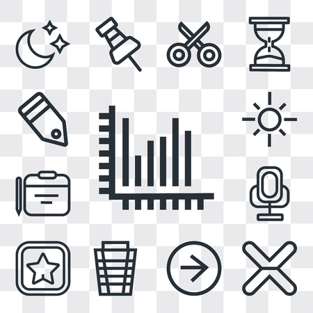 Set Of 13 simple editable icons such as Stats, Cancel, Right arrow, Garbage, Favorite, Voice recorder, Calendar, Sun, Tag, web ui icon pack Ilustração