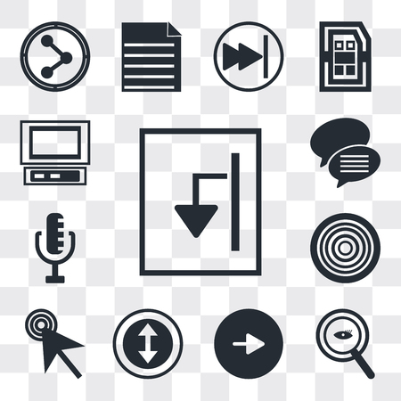 Set Of 13 simple editable icons such as Export Archive, Magnifying Glass Searcher, Play button, Selectioned Circle, Mouse cursor, Gramophone record, RAdio Microphone, web ui icon pack Ilustração