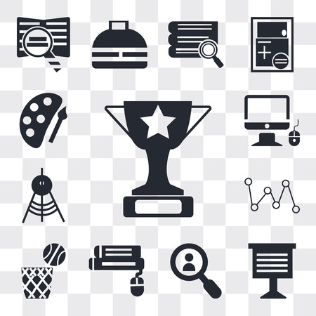 Set Of 13 simple editable icons such as Trophy, Teacher giving lecture, Magnifying glass, Book and computer mouse, Basketball, Molecular structure, Drawing Compass, web ui icon pack