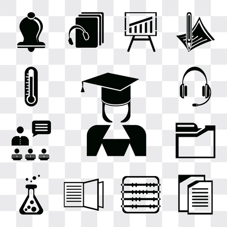 Set Of 13 simple editable icons such as Mortarboard, Copy, Abacus, Open book, Flask, Folders, Presentation, Headset, Thermometer, web ui icon pack