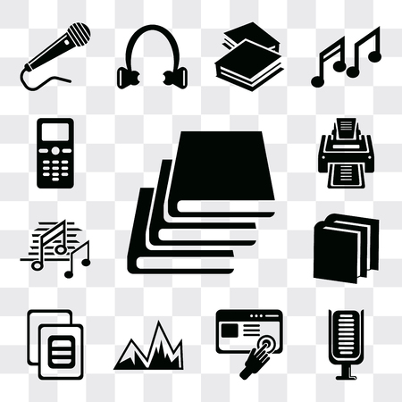 Set Of 13 simple editable icons such as Books, Microphone, Images interface, Image with mountains, variant, Book of black cover, Music note black, Printer, web ui icon pack