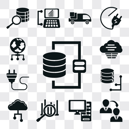 Set Of 13 simple editable icons such as Database, Transfer, Computer, Analytics, Cloud, Plug, World, web ui icon pack