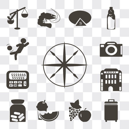 Set Of 13 simple editable icons such as Compass, Luggage, Apple and grapes, Slice of melon juice, Pills, Hotel building, Calculator dollar, Camera front view, web ui icon pack