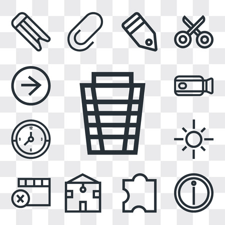 Set Of 13 simple editable icons such as Garbage, Info, Puzzle, Home, Remove, Sun, Clock, Video camera, Right arrow, web ui icon pack