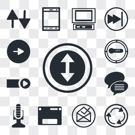 Set Of 13 simple editable icons such as Selectioned Circle, Curved Arrow, File inbox, Web page variant, Broadcast microphone, Conversation speech bubbles, Start button, web ui icon pack Ilustração