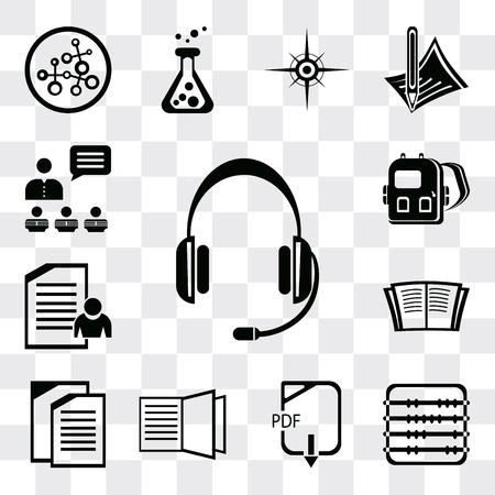 Set Of 13 simple editable icons such as Headset, Abacus, Pdf, Open book, Copy, Exam, Backpack, Presentation, web ui icon pack Ilustração