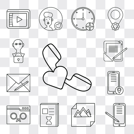 Set Of 13 simple editable icons such as Phone call, Smartphone, Image, List, Browser, Envelope, Notebook, User, web ui icon pack  イラスト・ベクター素材