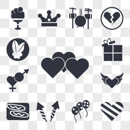 Set Of 13 simple editable icons such as Heart, Giving Love, Stars balloons, Firework rocket, Burning sausage on a fork, Devil heart with wings, Male and female, web ui icon pack