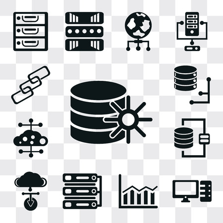 Set Of 13 simple editable icons such as Database, Computer, Bar chart, Server, Cloud computing, Link, web ui icon pack