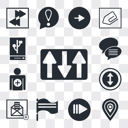 Set Of 13 simple editable icons such as Key up, Map pointer, Play button, Flag waving, Open envelope, Selectioned Circle, Add, Conversation speech bubbles, web ui icon pack