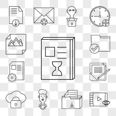 Set Of 13 simple editable icons such as List, Video player, File, User, Cloud computing, Notebook, Folder, Image, web ui icon pack Banco de Imagens - 112215448