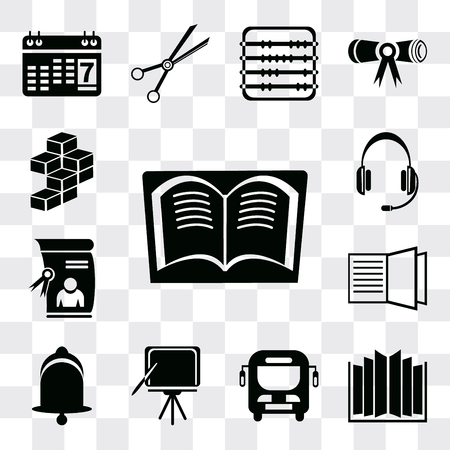 Set Of 13 simple editable icons such as Book, Open book, Bus, Blackboard, Bell, Diploma, Headset, Cube, web ui icon pack Ilustração