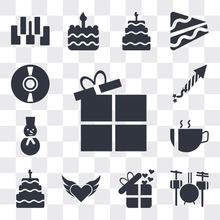 Set Of 13 simple editable icons such as Open Present Box, Drummer Set, Birthday present, Devil heart with wings, Five birthday cake, Hot coffee cup hearts, web ui icon pack Banco de Imagens - 112215450
