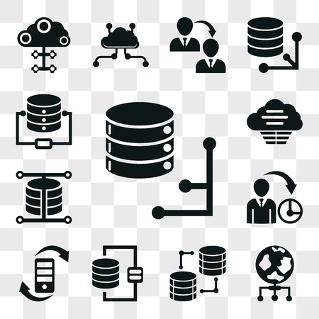 Set Of 13 simple editable icons such as Database, World, Transfer, Management, Cloud, web ui icon pack Ilustração