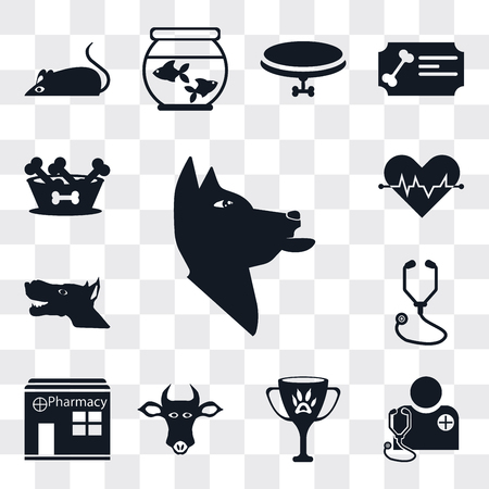 Set Of 13 simple editable icons such as Dog, Veterinarian, Award, Cow, Pharmacy, Stethoscope, Cardiogram, Dog food, web ui icon pack