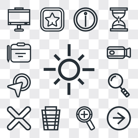 Set Of 13 simple editable icons such as Sun, Right arrow, Zoom, Garbage, Cancel, Search, Cursor, Video camera, Calendar, web ui icon pack