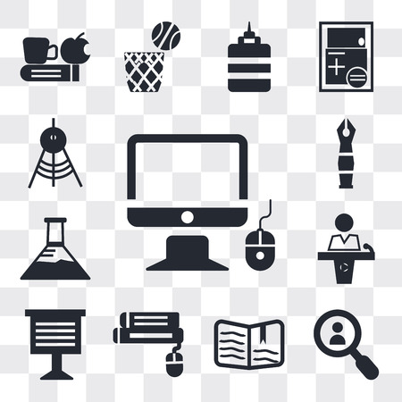 Set Of 13 simple editable icons such as Monitor and computer mouse, Magnifying glass, Open book, Book Teacher giving lecture, Conference hall, web ui icon pack