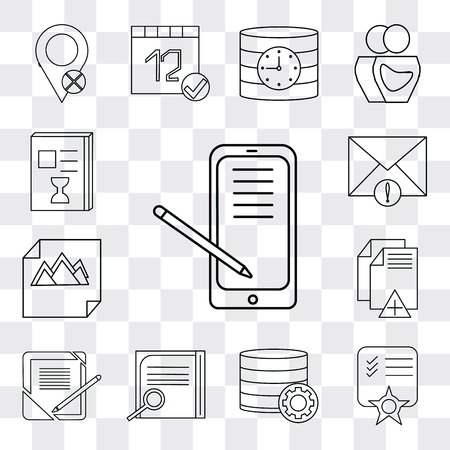 Set Of 13 simple editable icons such as Smartphone, Notepad, Database, Notebook, File, Image, Mail, List, web ui icon pack