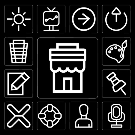 Set Of 13 simple editable icons such as Store, Voice recorder, Profile, Help, Cancel, Push pin, Edit, Paint, Garbage on black background