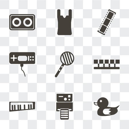 Set Of 9 simple transparency icons such as Duck, Instant camera, Keytar, Number, Lollipop, Game console, Negative film, Tights, Cassette, can be used for mobile, pixel perfect vector icon pack on