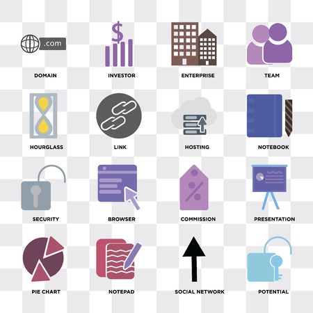 Set Of 16 icons such as Potential, Social network, Notepad, Pie chart, Presentation, Domain, Hourglass, Security, Hosting on transparent background, pixel perfect
