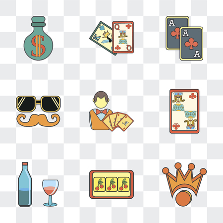 Set Of 9 simple transparency icons such as Crown, Gambler, Alcoholic, Jack of clubs, Eyeglasses, Cards, Money, can be used for mobile, pixel perfect vector icon pack on transparent