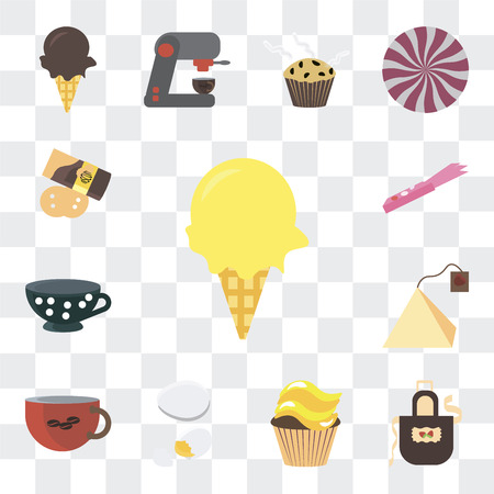Set Of 13 simple editable icons such as Ice cream, Apron, Cupcake, Egg, Coffee cup, Tea bag, Gum, Pie on transparent background