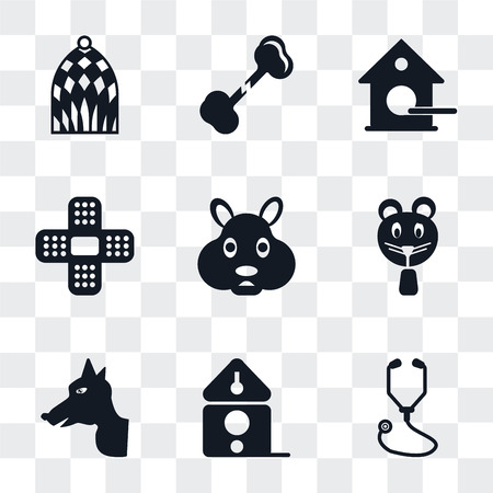 Set Of 9 simple transparency icons such as Stethoscope, Birdhouse, Dog, Hamster, Plaster, Bone, Bird cage, can be used for mobile, pixel perfect vector icon pack on transparent Illustration