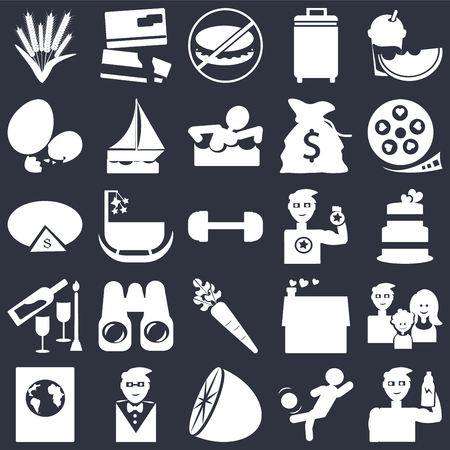 Set Of 25 simple editable icons such as Wedding cake, Citrus fruits, Suit with bow tie, Pie chart dollar, Gym weight, web UI icon pack, pixel perfect