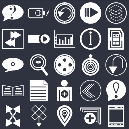 Set Of 25 simple editable icons such as Smartphone, Undo Arrow, Sim card, Battery power, Export Start button, Go back Speech bubble black on background, web UI icon pack Иллюстрация