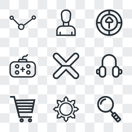 Set Of 9 simple transparency icons such as Search, Settings, Shopping cart, Headphones, Cancel, Gamepad, Upload, Profile, Share, can be used for mobile, pixel perfect vector icon pack on transparent