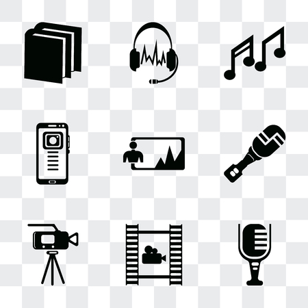 Set Of 9 simple transparency icons such as Mic, Film roll, Video camera, Mic interface, Image, Mobile phone, Music note, Headphones black shape, Book of cover, can be used for mobile, pixel