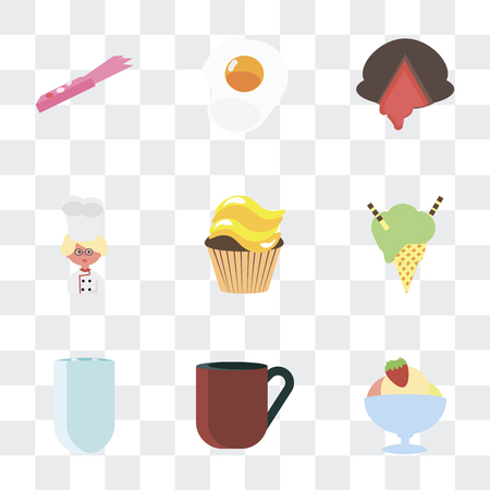 Set Of 9 simple transparency icons such as Ice cream, Coffee cup, Iced coffee, Cupcake, Baker, Chocolate, Fried egg, Gum, can be used for mobile, pixel perfect vector icon pack on