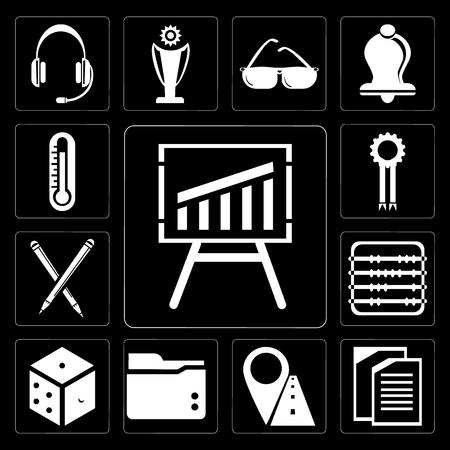 Set Of 13 simple editable icons such as Blackboard, Copy, Marker, Folder, Dice, Abacus, Pencil, Medal, Thermometer on black background