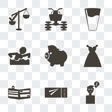 Set Of 9 simple transparency icons such as Ideas to earn money, Airplane flight tickets, Card wallet, Bride Dress, Piggy bank with coin, Swimming figure, Glass of water drop, All terrain Ilustración de vector