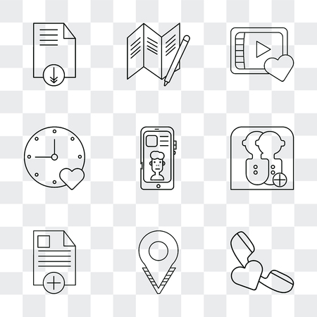 Set Of 9 simple transparency icons such as Phone call, Placeholder, File, User, Smartphone, Stopwatch, Video player, Map, can be used for mobile, pixel perfect vector icon pack on transparent