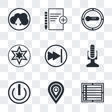 Set Of 9 simple transparency icons such as Create list button, Map pointer, On off power Broadcast microphone, Pause Favourite star, Button on off, Add new document, Cloud upload, can
