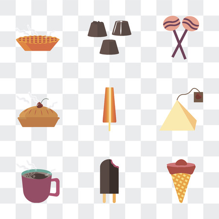 Set Of 9 simple transparency icons such as Ice cream, Coffee, Tea bag, Biscuit, Sweet, Chocolate, Pie, can be used for mobile, pixel perfect vector icon pack on transparent Vectores