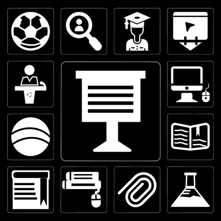 Set Of 13 simple editable icons such as Teacher giving lecture, Erlenmeyer flask, Paper clip, Book and computer mouse, with bookmark, Open book, Basketball on black background Vektorové ilustrace