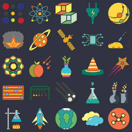 Set Of 25 icons such as Network, Cloudy, Planet earth, Space ship, Burner, Animal testing, Cone, Meteor, Adjust, Explosion, Cube, Physics on black background, web UI editable icon pack