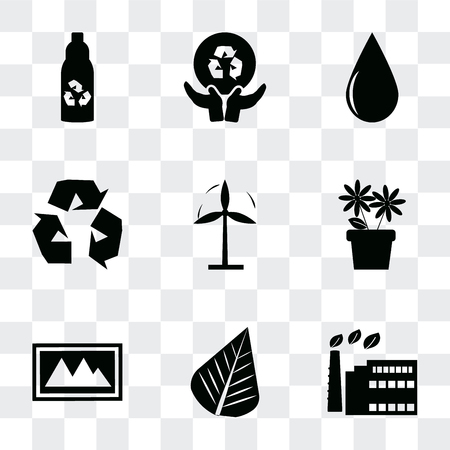 Set Of 9 simple transparency icons such as Eco factory, Leaf, Landscape Image, Two Flowers, Wind mill, Recycle, Drop, Global recycling, Recycled bottle, can be used for mobile, pixel perfect vector 写真素材 - 112015234