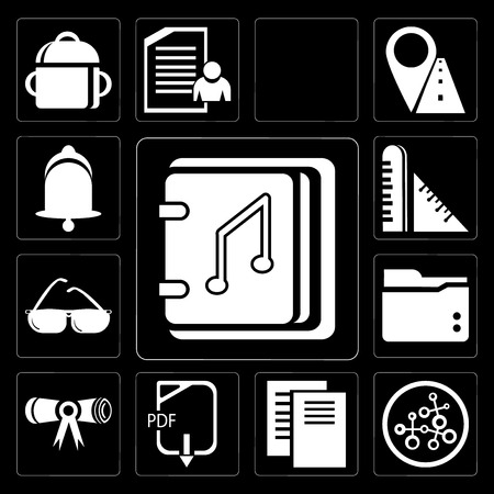 Set Of 13 simple editable icons such as Audiobook, Research, Document, Pdf, Diploma, Folder, Sunglasses, Ruler, Bell on black background