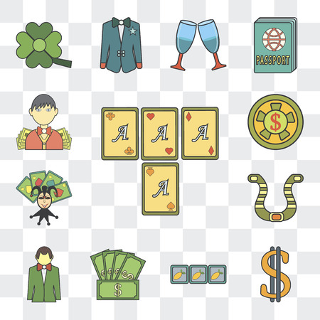 Set Of 13 simple editable icons such as Gambler, Dollar, Slot machine, Money, Croupier, Horseshoes on transparent background