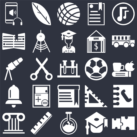 Set Of 25 simple editable icons such as Puzzle piece, Time to have a break, School bus, Quill, Greek column, Drawing Compass, square, Telescope on black background, web UI icon pack