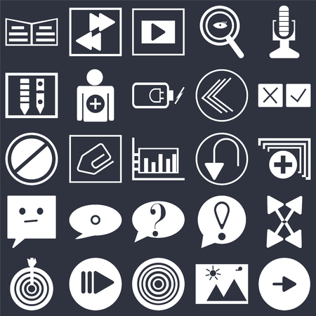 Set Of 25 simple editable icons such as Play button, Medic folder, Cross, Arrow pointing right, Target, Add, Exclamation mark, Prohibition Circle on black background, web UI icon pack Illustration