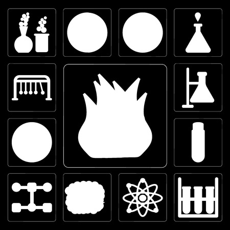 Set Of 13 simple editable icons such as Heat, Test tube, Physics, Explosion, Structure, Planet earth, Chemistry, Newtons cradle on black background