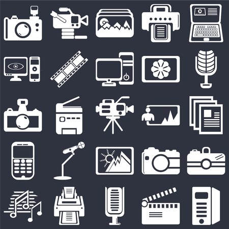 Set Of 25 simple editable icons such as Laptop, Movie clapper, Microphone of vintage de, Printer, Music note black, Camera, web UI icon pack, pixel perfect